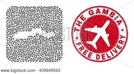 Vector Mosaic The Gambia Map Of Aeroplane Elements And Grunge Free Delivery Seal. Collage Geographic