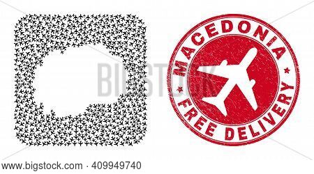 Vector Mosaic Macedonia Map Of Airliner Items And Grunge Free Delivery Seal Stamp. Mosaic Geographic