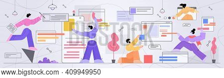 Businesspeople Developers Creating Computer And Mobile Apps User Interface Application Development C