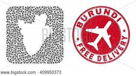 Vector Mosaic Burundi Map Of Air Plane Items And Grunge Free Delivery Badge. Mosaic Geographic Burun