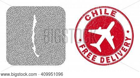 Vector Mosaic Chile Map Of Jet Vehicle Elements And Grunge Free Delivery Stamp. Mosaic Geographic Ch