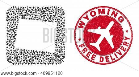 Vector Collage Wyoming State Map Of Air Force Elements And Grunge Free Delivery Badge. Mosaic Geogra