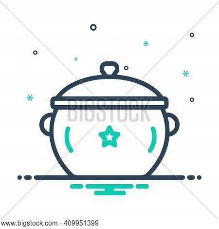 Mix Icon For Pot Utensil Casserole Vessel Steamship Accessory Appliance Cookery Cuisine Culinary