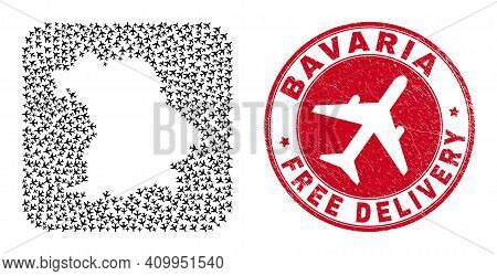 Vector Mosaic Bavaria Land Map Of Air Plane Elements And Grunge Free Delivery Seal. Mosaic Geographi