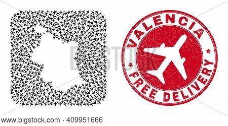 Vector Collage Valencia Province Map Of Air Force Items And Grunge Free Delivery Stamp. Collage Geog