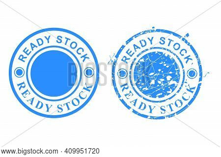 2 Style Vector Of Blue Circle Grunge Rubber Stamp, Ready Stock, Isolated On White