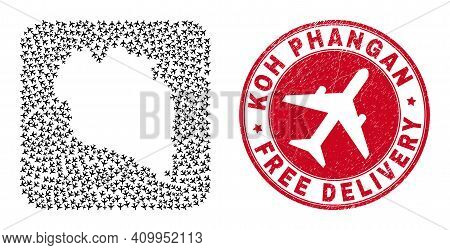 Vector Collage Koh Phangan Map Of Jet Vehicle Items And Grunge Free Delivery Badge. Mosaic Geographi