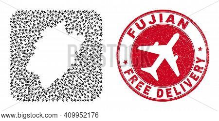 Vector Mosaic Fujian Province Map Of Airliner Elements And Grunge Free Delivery Seal. Mosaic Geograp