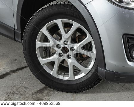 Novosibirsk, Russia - February 22 2021:  Mazda Cx-5, Close-up Of The Alloy Wheel. Photography Of A M