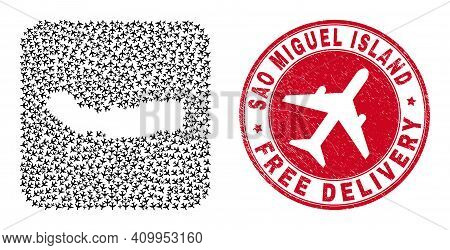 Vector Mosaic Sao Miguel Island Map Of Aeroplane Elements And Grunge Free Delivery Seal Stamp.