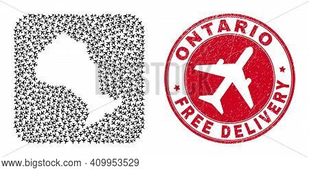 Vector Mosaic Ontario Province Map Of Air Plane Elements And Grunge Free Delivery Seal. Collage Geog