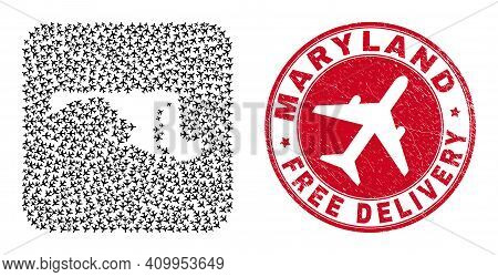 Vector Mosaic Maryland State Map Of Air Force Elements And Grunge Free Delivery Stamp. Mosaic Geogra