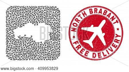 Vector Mosaic North Brabant Province Map Of Air Force Items And Grunge Free Delivery Stamp.