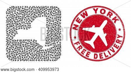 Vector Collage New York State Map Of Air Force Items And Grunge Free Delivery Stamp. Collage Geograp