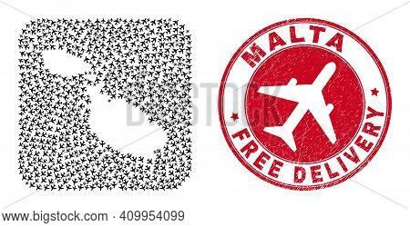 Vector Collage Malta Map Of Air Force Items And Grunge Free Delivery Seal. Mosaic Geographic Malta M