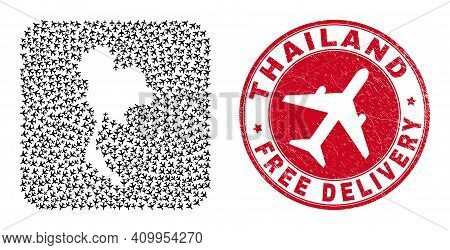 Vector Collage Thailand Map Of Airplane Items And Grunge Free Delivery Seal. Collage Geographic Thai