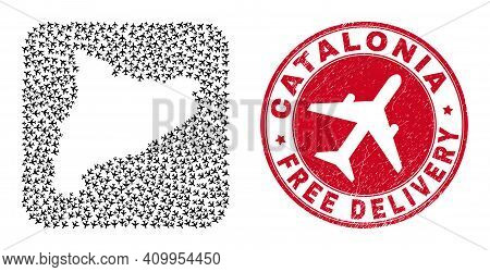 Vector Mosaic Catalonia Map Of Airliner Items And Grunge Free Delivery Stamp. Mosaic Geographic Cata