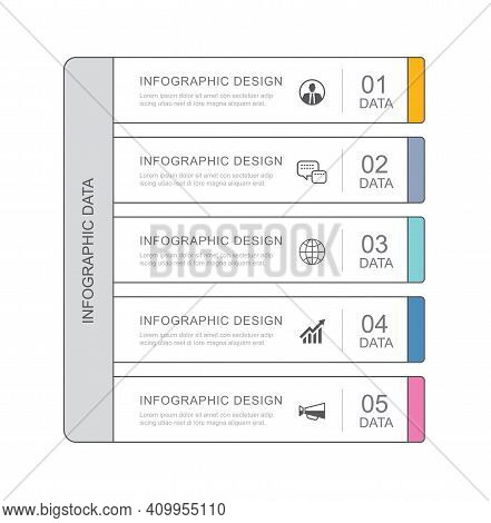 5 Data Infographics Tab Paper Thin Line Index Template. Vector Illustration Abstract Background. Can