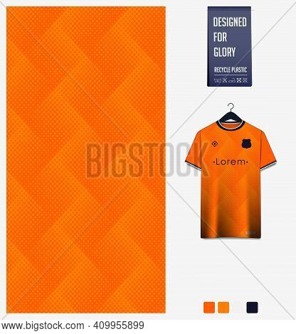 Fabric Pattern Design. Geometric Pattern On Orange Background For Soccer Jersey, Football Kit, Bicyc