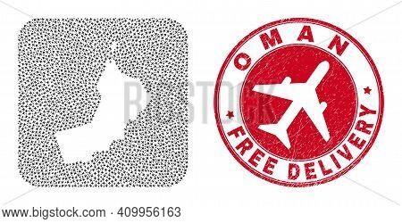 Vector Collage Oman Map Of Aviation Elements And Grunge Free Delivery Seal Stamp. Collage Geographic