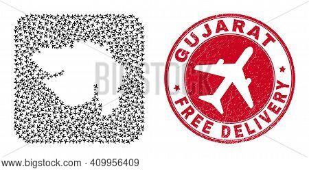 Vector Mosaic Gujarat State Map Of Air Force Elements And Grunge Free Delivery Badge.