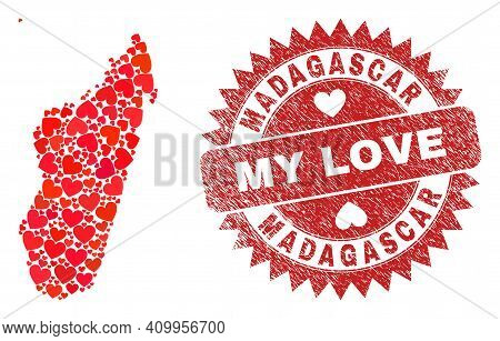 Vector Mosaic Madagascar Island Map Of Lovely Heart Elements And Grunge My Love Seal. Mosaic Geograp