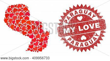 Vector Mosaic Paraguay Map Of Love Heart Items And Grunge My Love Seal. Mosaic Geographic Paraguay M
