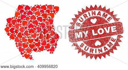 Vector Collage Suriname Map Of Valentine Heart Elements And Grunge My Love Stamp. Collage Geographic