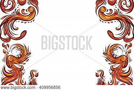 Horizontal Card With Bird Pattern With Curled Tails, Wings And Place For Text. Symmetrical Decoratio
