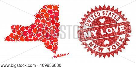 Vector Collage New York State Map Of Love Heart Elements And Grunge My Love Badge. Collage Geographi