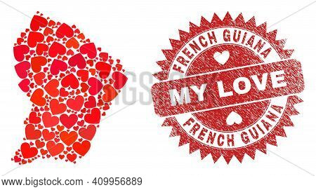 Vector Mosaic French Guiana Map Of Valentine Heart Items And Grunge My Love Stamp. Collage Geographi