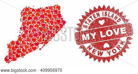 Vector Collage Staten Island Map Of Love Heart Elements And Grunge My Love Stamp. Collage Geographic