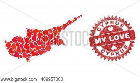 Vector Mosaic Cyprus Map Of Love Heart Items And Grunge My Love Seal. Mosaic Geographic Cyprus Map C