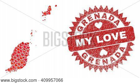 Vector Mosaic Grenada Map Of Lovely Heart Items And Grunge My Love Badge. Mosaic Geographic Grenada