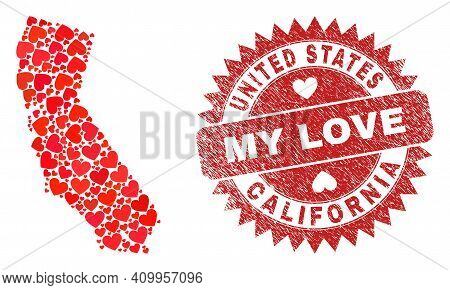Vector Collage California State Map Of Valentine Heart Elements And Grunge My Love Seal Stamp. Colla
