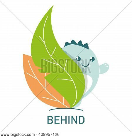 Cute Dinosaur Behind The Leaves, Learning Preposition