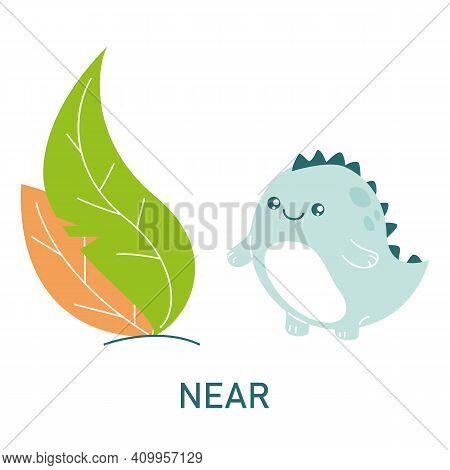 Cute Dinosaur Near The Leaves, Learning Preposition