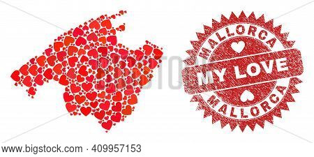 Vector Mosaic Mallorca Map Of Valentine Heart Elements And Grunge My Love Stamp. Mosaic Geographic M