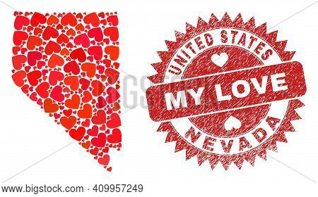 Vector Mosaic Nevada State Map Of Valentine Heart Items And Grunge My Love Badge. Mosaic Geographic