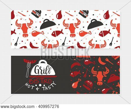 Grill Bistro Hot And Tasty Business Card Template, Hot Barbecue House, Restaurant, Bar Poster, Invit
