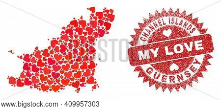 Vector Mosaic Guernsey Island Map Of Love Heart Items And Grunge My Love Seal Stamp. Mosaic Geograph