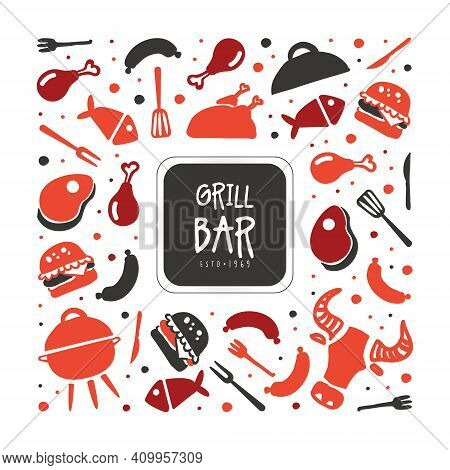 Grill Bar Banner Template, Hot Barbecue House, Restaurant, Bistro Poster, Invitation, Flyer, Promo D