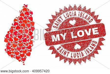 Vector Collage Saint Lucia Island Map Of Valentine Heart Elements And Grunge My Love Seal Stamp. Col