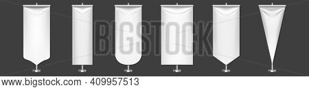 White Pennant Flags Different Shapes On Metal Stand. Vector Realistic Template Of Blank Textile Penn