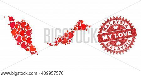 Vector Collage Malaysia Map Of Love Heart Items And Grunge My Love Stamp. Collage Geographic Malaysi
