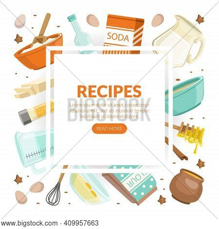Recipes Landing Page Template, Culinary School, Class, Cooking Recipe, Homemade Food Cartoon Vector