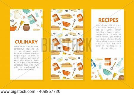 Culinary Recipes Brochure Template, Cover Layout With Culinary Products And Kitchen Utensil Seamless