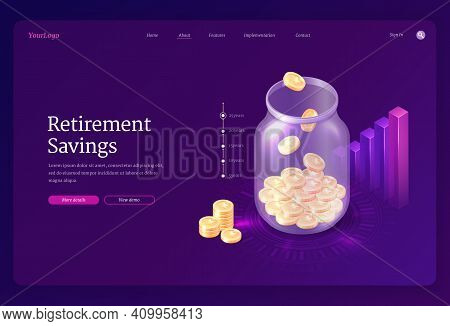 Retirement Savings Banner. Concept Of Save Money For Pension, Investment And Deposit To Retire Fund.