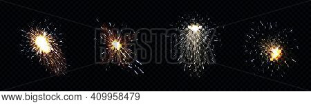 Fire Sparks From Metal Welding, Iron Cutting Or Fireworks. Vector Realistic Flare Effect, Light Flas