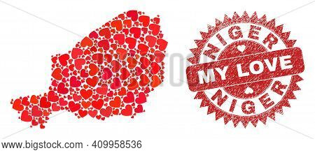 Vector Collage Niger Map Of Love Heart Items And Grunge My Love Seal Stamp. Collage Geographic Niger